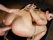 Beautiful girl enjoying rough bondage sex with anal!