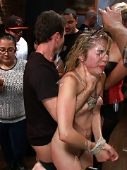 Lorelie Lee Drags this slut around a crowded bar and the patrons join in while Lia gets fucked and humiliated!