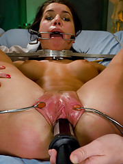 Micah Moore has sexy science experiments performed on her by two hot doms!
