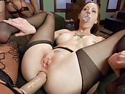 Four Girl ass play and anal lesbian orgy.