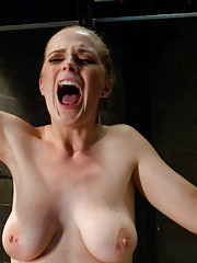 Double Penetration, brutal nipple clamps and tied up tits while machines fucking her in all holes it