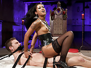 Skin Diamond is sexy as hell making her debut dominating and pegging and cum eating instruction to pathetic slaveboy on Divine Bitches!