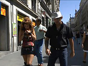 Euro trash street whore, Hanna Montada, is humiliated and put on display in the busy streets of Madrid.