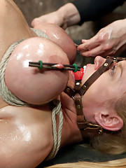 Darling returns for a hard dose of intense back breaking hogtie, bow suspension, straight legged pile driver, & gets an extremely intense sybian ride.