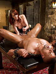 Maitresse Madeline declares slave the official Divine Meat for the Bitches to pass around and milks his prostate and makes him lick her asshole clean.