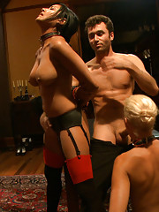 The slaves make mistake after mistake, but luckily our guest of honor, James Deen, if there to punish them with his cock and creative humiliation.