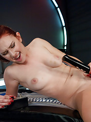 Redhead fucked to tilt by fast, cold hearted machines. Her pretty pussy taps out.