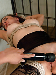 Tied up, fucked with a custom drill and squirting until her stockings are soaked and her feet are covered in cum. Cytherea returns for more machines.