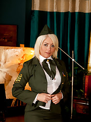 Amber Jewell in her sexy military uniform spreads her juicy pussy