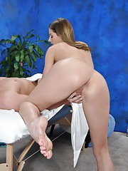 Naughty girl Samantha fucks her massage client after a rub down
