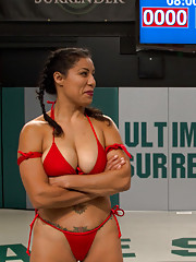 """Can """"La Diabla"""" bend this rookie into submission? Or will she experience the worst humiliation any seasoned wrestler can, choking on rookie cock?!?"""