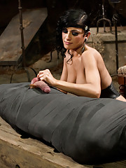 Beretta James seductively uses and punishes slaveboy keeping his cock hard until she completely mummifies him keeping only his cock out for sex!