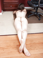 Jackie Paige pleases her hairy pussy at work