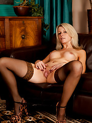 Superb mom next door fucks her pussy with a vibrator