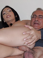 A horny car slut sucks an old guys hard cock