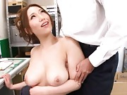 Ai Sayama Asian with fine big melons gets dick to suck at office