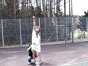 Japanese AV Model plays tennis and gets her panties removed