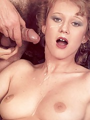 Seventies lady receives a load on her face