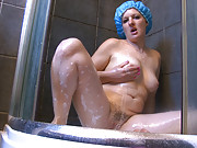Shower time gets filthy with hairy girl Rogue Rose