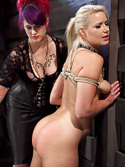 Big tit blonde slave girl endures harsh slave training