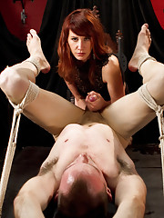 Maitresse Madeline picks up a new dude who has never done porno and beats him and milks his prostate until cum is bubbling and boil out his cock!