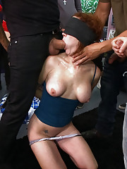 AVN award winner Audrey Hollander is blindfolded and made to suck the cocks of horny strangers, ass fisted and fucked, made to gape, and cattleproded!