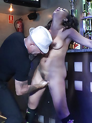 Spanish hottie bound and fucked in public!