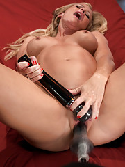 Sexy, blonde, hardbody, MILF storms the machines with her confidence and sex hungry need to cum from HUGE cocks and hand held, never stopping machines
