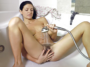 Showers make hairy woman Efina masturbate and cum