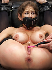 At the whims of two vicious Doms, Felony the lusty whore succumbs to extreme immobilizing bondage in three dramatic poses.