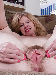 Lacey is wide open with her hairy pussy