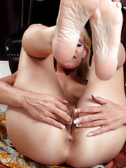 Naughty blonde cougar tickles her juicy mature pussy