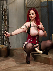 Wicked evil bitch dominatrix suspends, electro-tortures, beats and teases and denies slave giving him harsh painful sexy sadistic punishment!