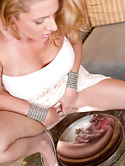 Naughty Jennifer Best tickles her clit with a vibrator