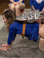 3 hot girls get punished, spanked and fucked by a hot flight attendant while they earn their wings to fly!