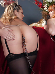 Submissive girls get heavy anal play from Mistress.