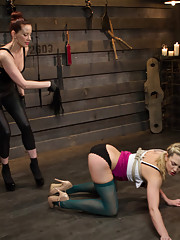Sexy new comer Bailey Blue is taught the ropes for lesbian BDSM with sadistic bitch Maitresse Madeline.
