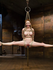 Hot ginger bitch in heat Audrey Hollander cums to HogTied enduring a single ankle rope only suspension, heavy head encasement, & incredible orgasms!