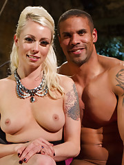Gorgeous blonde dominatrix tortures and teases hot muscle slave while he