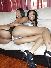 Gorgeous sluts with big fabulous asses sharing a cock