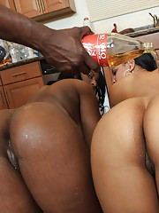 Slutty hoes with bubble asses having fun with a loaded cock