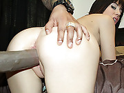 Horny slut polishes a huge black cock with her mouth