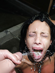 Slutty whore disgraced with gallons of jizz!