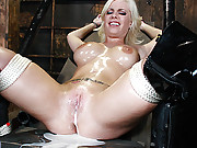 Blonde slut leaking cum from all fuck holes