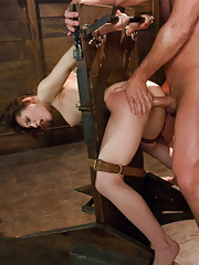Sexy babe face fucked and gets pounded pussy and ass in tough bondage!