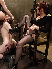 3 of the sexiest femdoms in history keep a male slave locked away in a pit and bring him out once a day to milk his prostate and fill a bucket with cu