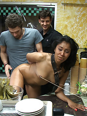 Yasmine de Leon ass fucked in bakery! Mouth and pussy used by patrons and employees!