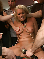 Beautiful blonde girl made to wear pig mask while getting fucked by random dude at a house party