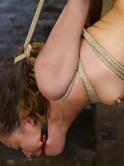 Hot cunt gets wet through white cotton panties, enduring intense bondage with a straddle split suspension, pile driver, and intense hogtie suspension.