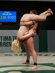Bella does her trade mark Standing 69 on the sexy blond. She then leg lifts Alice up and down onto a dick on a stick then strap on fuck